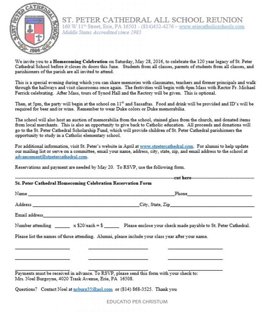 St Peter Cathedral All School Reunion Form